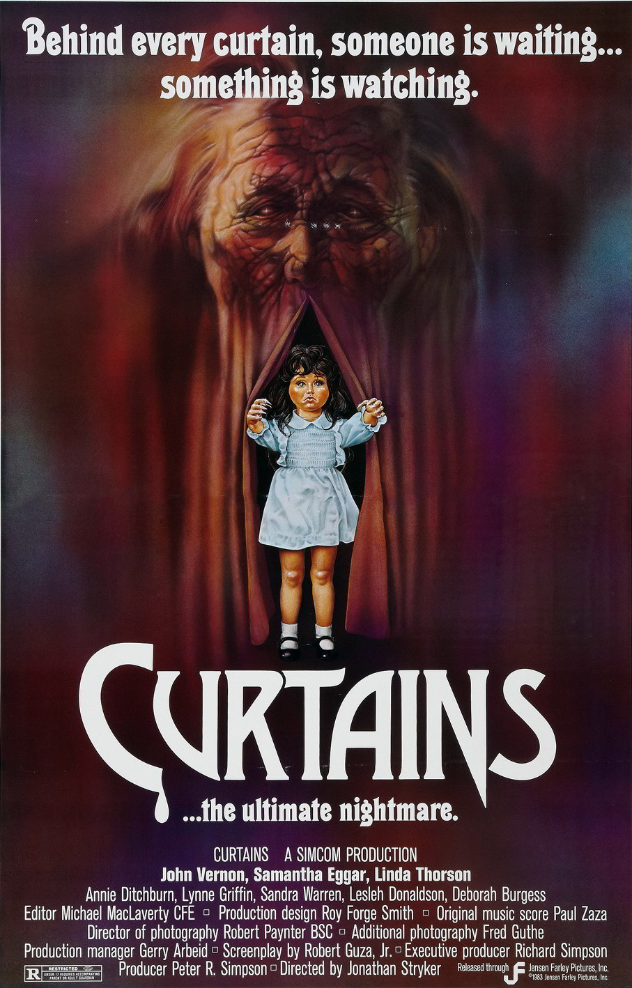 The cover art for the 1983 horror film, Curtains.