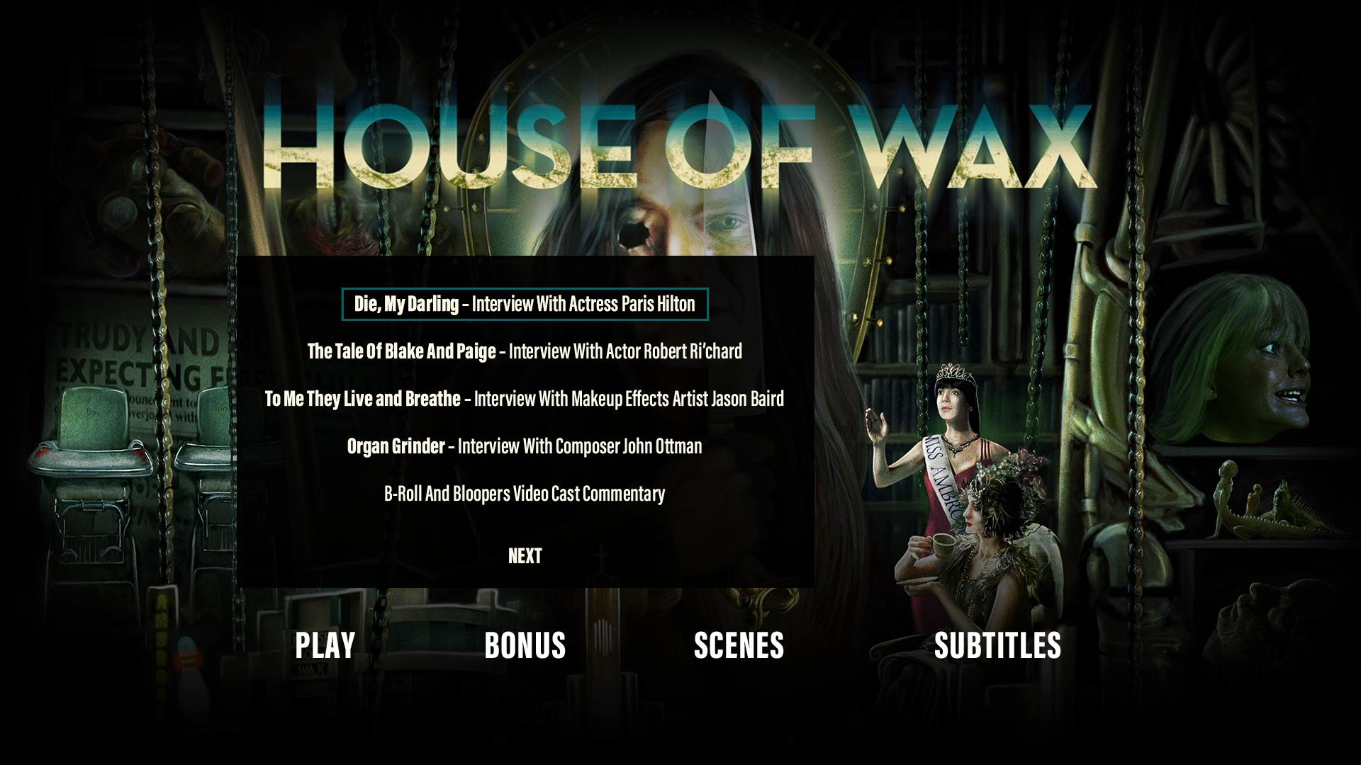 House of Wax extras menu 1
