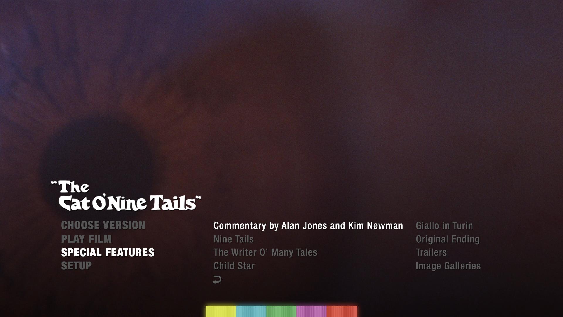 The Cat O'Nine Tails 4K extras menu